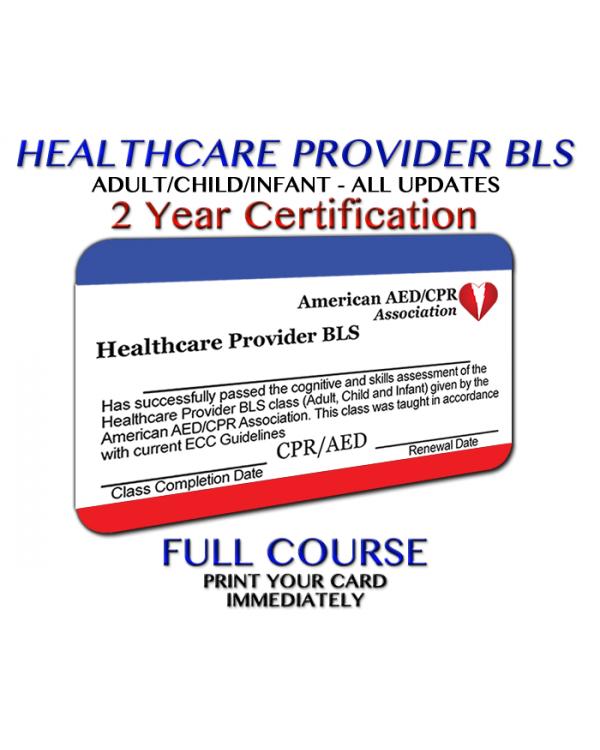 Aedcpr Healthcare Provider Bls Course Preprinted Card