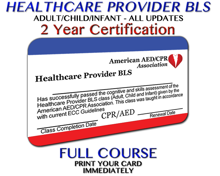 AEDCPR Healthcare Provider BLS Course - Preprinted Card: