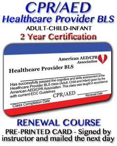 Healthcare Provider BLS Renewal Course - Preprinted Card