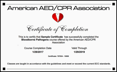 Bloodborne Pathogens Certification Card