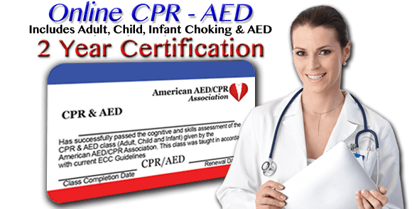 Learn More - Online CPR - AED training class - 2 year certification. First time or renewal.