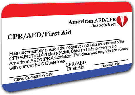 CPR/AED/First-Aid Certification Card
