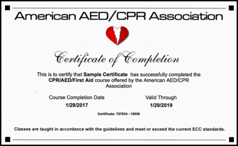 CPR/AED/First-Aid Certificate