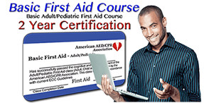Online First-Aid training class - 2 year certification. First time or renewal.