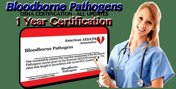 1 Year Certification - OSHA Bloodborne Pathogens Certification Class