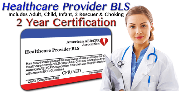 Learn More - Online CPR/AED/BLS training class - 2 year certification. First time or renewal.