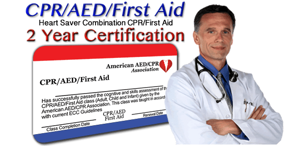 Online CPR/AED/First-Aid combination training class - 2 year certification. First time or renewal.