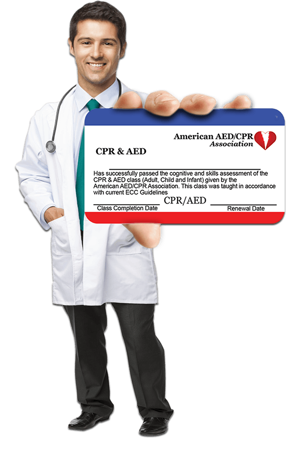 Doctor with sample CPR Card