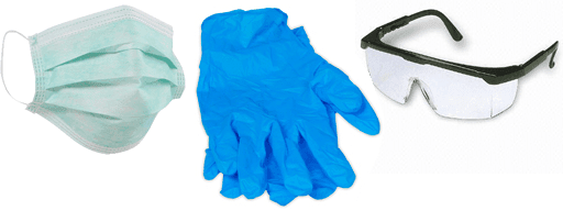 Your first aid kit should include personal protective equipment (PPE) such as disposable gloves and goggles.