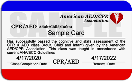 Sample CPR/AED Certification Card