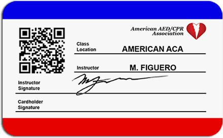 Sample back of CPR/AED Certification Card with e-Verify