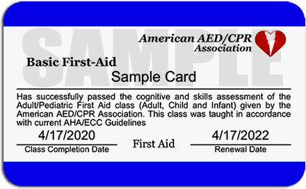 First Aid Certification Card