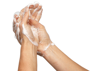 Scrub hands and any other bare skin that may have been contaminated. Use hot water