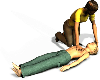 Perform 30 compressions and then give 2 breaths. After 5 cycles of 30 compressions and 2 breaths, reassess the victim